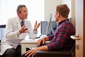 Image of vasectomy discussion between doctor and patient